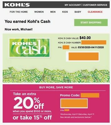 $40 KoHLS CaSH VaLiD 3/30-4/11/20 & 20% oFF $100 CouPoN FaST ELeCTRoNiC DeLiVeRy
