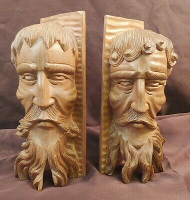 Vintage Pair Of Hand Carved Wooden Philosopher Bookends Wood Carvings