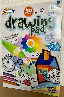 Grafix A4 Drawing Pad 100 pages Assorted Coloured Sheets Sketching Draw Colour
