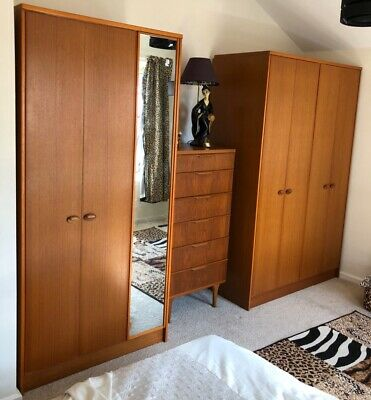 Austin suite Pair Of Matching Wardrobes Mid Century Modern Mirror Door Vintage