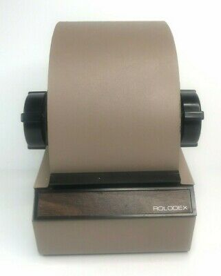 ROLODEX 2254 - Metal - Tan Beige - Locking Retractable Cover - No Key - Vintage