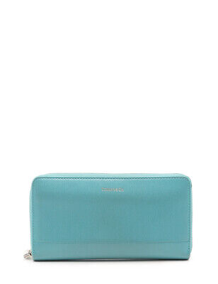 TIFFANY & Co. round zipperLong wallet leather Light blue