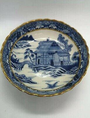 Antique Hand Painted Oriental Chinese    Blue & White Gold Trim  Dish /Bowl