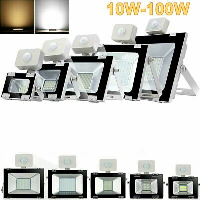 10/20/30/50/100W LED Floodlight PIR Motion Sensor Security Warm Cool Flood Light