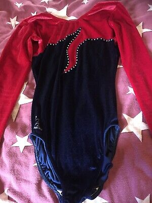 Girls 34in 13-15 Year Approx Red And Navy Sequined Leotard Hardly Used