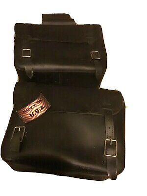 Leather saddle bags black buckle