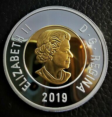2019 Canada 2 Dollar .9999 Fine Silver & Gold Plated Proof Toonie - Uncirculated