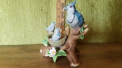 Beautiful Vintage Porcelain Blue Jay With Chicks Figurine - MINT - FREE SHIPPING