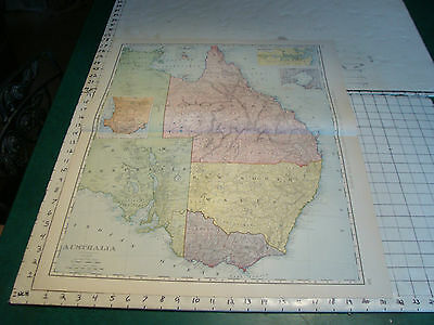 Vintage Original 1898 Rand McNally Map: AUSTRALIA, 28 x 21""