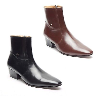 Lucini  Mens Real Leather Cuban Heel Boots Black & Brown