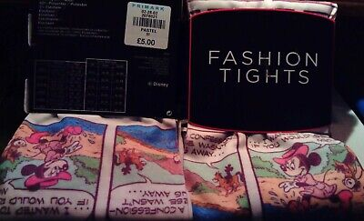 """Tights Disney Minnie & Mickey Mouse Size M Pastel 34 - 39 hip. 5'1"""" to 5'4"""" tall"""