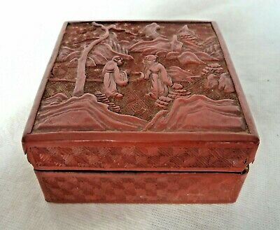Chinese Qing / Republic Red Cinnabar Box – Scholars In Mountain Scene