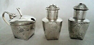 ANTIQUE CHINESE c1900 SOLID / STERLING SILVER BAMBOO CONDIMENT SET