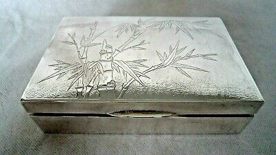 LARGE ANTIQUE CHINESE c1900 SOLID SILVER BAMBOO CIGARETTE / JEWELLERY BOX