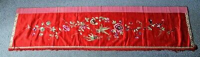 LARGE ANTIQUE CHINESE QING c1900 EMBROIDERY SILK WALL HANGING / TABLE COVER