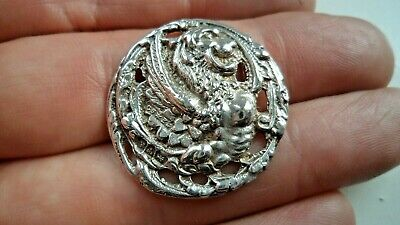 Arts & Crafts Chester 1901 Solid Silver Griffin Button