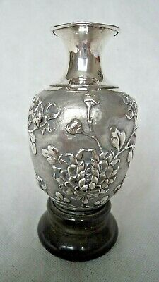 Superb 19Th Century Chinese Solid Silver Chrysanthemum Vase With Stand