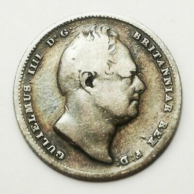 British 1834 Sterling Silver Sixpence William IV Collectable Coin