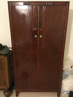 Circa 1920's Art Deco Style Gentleman's Wardrobe. Very Good Condition.