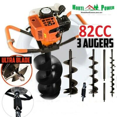 """82cc Post Hole Digger Auger Petrol(4"""",8"""",12"""")100,200,300Drill Earth Borer Spring"""