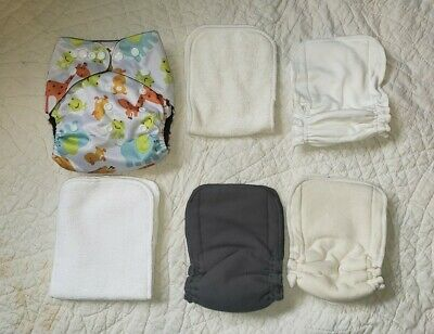 1 Cloth Diaper - Unisex Pockets w/ 5 Inserts to Boost Charcoal Hemp Bamboo Snaps