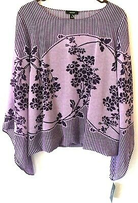 NWT Alfani Womens Purple/Lavender Floral Striped Print Blouse Size L