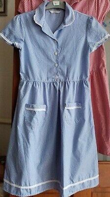 Mark's and Spencer Girls Blue Check School Dress Age 11.
