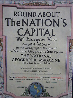 "1956 34"" x 29"" National Geographic map of Washington, DC area VG w hole"