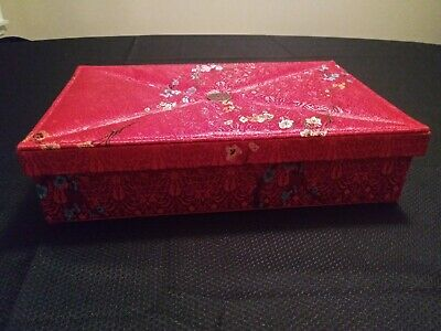 !!! Woman's Satin Fabric Jewelry Box Chinese Oriental Inspired Design Red Case