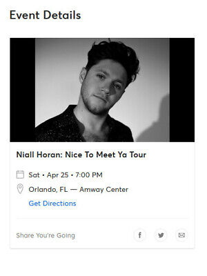 4/25/2020 Niall Horan Tickets(Floor Seats, Section F7, Row A)