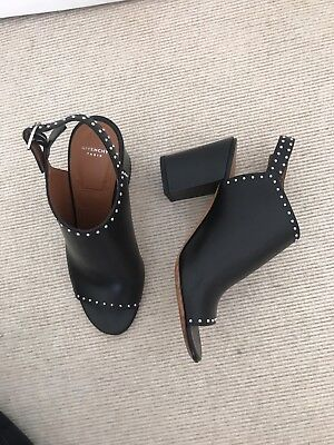 Givenchy, Black Leather Studded Slingback Mules, 37, Immaculate