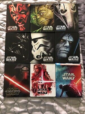 Star Wars Episodes 1 2 3 4 5 6 7 8 9 Bluray DVD 4K Steelbook Skywalker Saga Lot