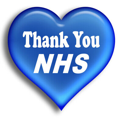Blue Heart covid Thank you NHS  message sticker decal that work hard everyday 19