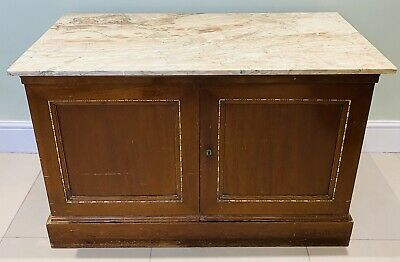 Lovely 19Th Century French Louis Xv Style Marble Top Buffet / Sideboard C1900