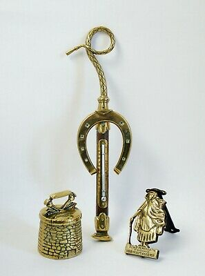 Three antique brassware -Thermometer, Bell & Dolly Pentreath Door Knocker