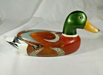 "Vintage Hand Painted 10"" Wooden Mallard Duck Decoy"