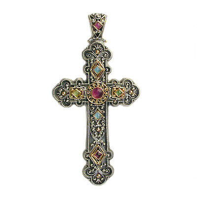 Byzantine Multicolor Large Cross Pendant Gerochristo silver and Gold