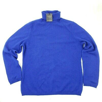 New Charter Club Pure 2 Ply Cashmere Turtleneck Sweater Blue Womens Large
