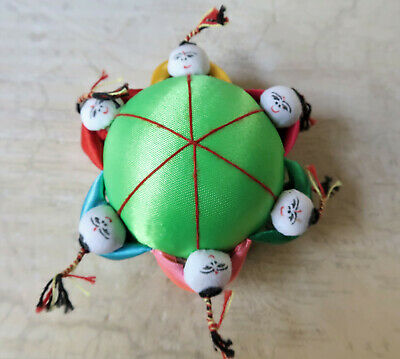 *Vintage 7cm Wide Green & Multicoloured Chinese Pin Cushion