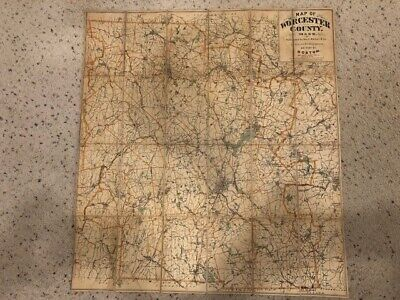 Worcester County Massachusetts Linen Map 1892 by Geo. H. Walker & Co.