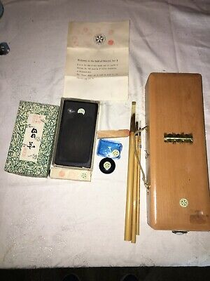 Japanese Wooden INKSTONE CASE Box Suzuribako Calligraphy Set