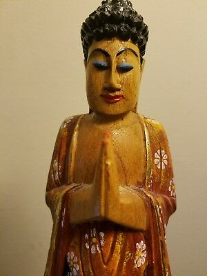 Hand Carved Wooden Statute Figurine of Relisious Praying Man.Indonesia