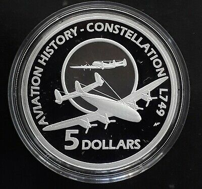 2009 Australia Aviation History Constellation L749 Silver (.999) Proof $5 coin