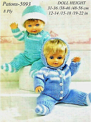 COPY Patons-5093  Dolls Clothes Knitting Pattern  refer to pics for doll heights