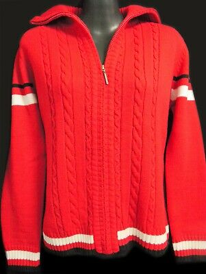 Red Cable Twist Zip Cardigan Size 14