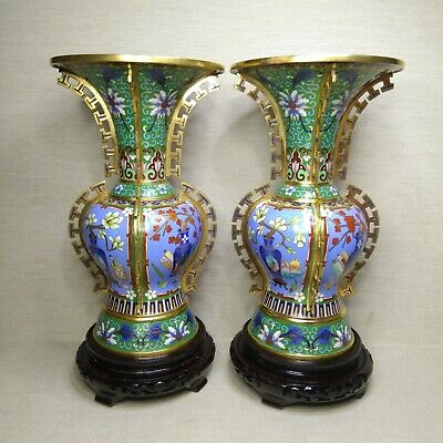 Vintage A pair of Chinese Cloisonne vase, 20th century.