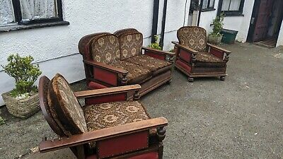 Gothic Revival Arts And Crafts Settee And Chairs