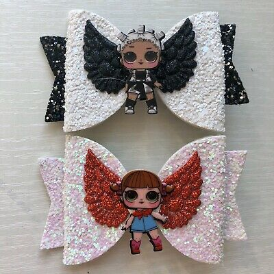 Hair Bows Handmade LOL Surprise Doll Hair Bow Clips Sliders (Pack of 2)