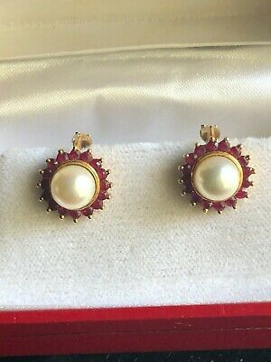 Grosse Boucle Oreille Perle Rubis Or 18 Carat Annee 50 -  7.59 Grm