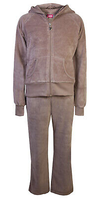 Love Lola Childrens Girls Velour Tracksuit Hoody Joggers Mink Age 3/4